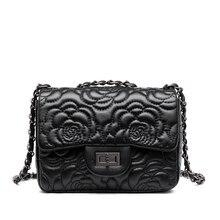 Women Messenger Bag Plaid Ladies Crossbody Bag Chain Trendy PU Leather Small Flap Tote Handbag Rose Mark Shoulder Bags