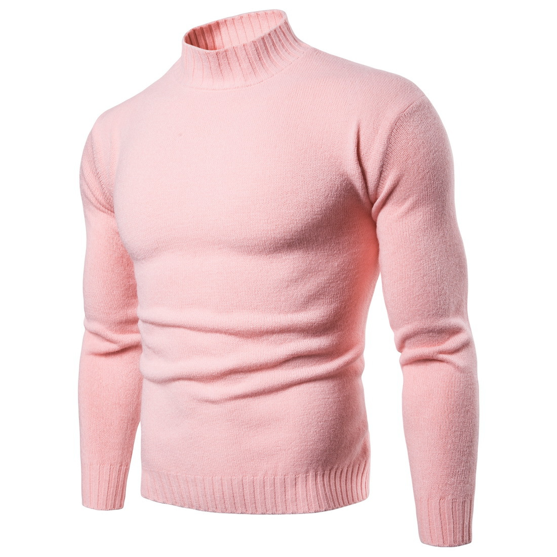 2019 New Autumn Mens Sweaters Casual Male Turtleneck Man's Solid Knit Shirts Slim Brand Clothing Sweater Leisure Tops S-XXL
