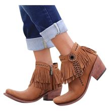 Women's Retro Rivets Brown boots Ancient Custom Tassel Ankle Boots for Women Side Zip Bare Boot Casual Short Booties botas mujer(China)