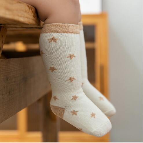 3Pairs/lot Organic Cotton High Tube Loose Mouth Children's Socks Infant Child Baby Long  Natural Color Cotton Tube Sock