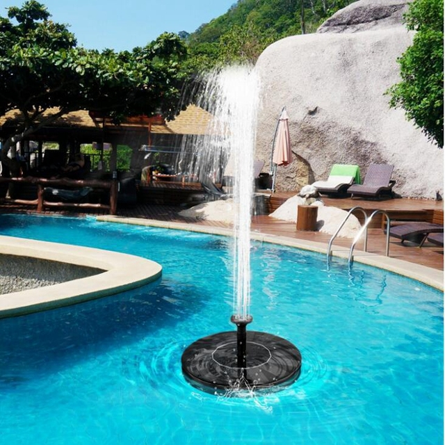 שמש מופעל מזרקת מים חיצוני משאבת ציפור אמבטיה בריכת מפל גן קישוט בריכת מזרקת עם צף אמבט ציפור