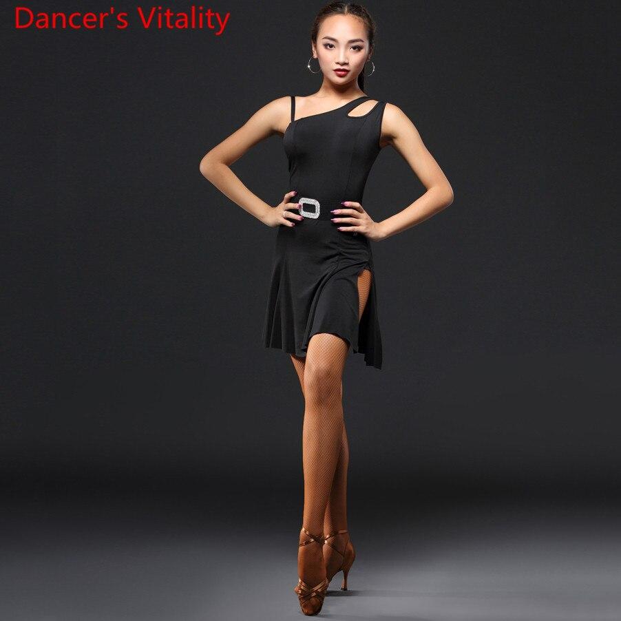 Latin Dance Practice Clothes Women Single Shoulder Cut Out Dress Professional Rumba Samba Tango Jazz Dancing Performance Costume