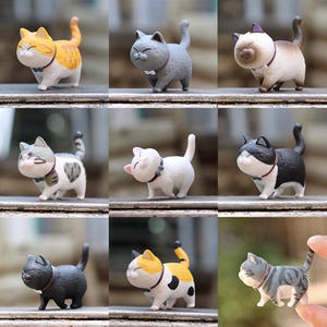Mini Cat Bell Siamese Cat Lovely White-Gray Cat Gangster Family Doll Cake Decoration Blind Box Gift Box Send Friend Or Child