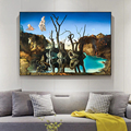 Salvador Dali Swans Reflecting Elephants Canvas Painting Abstract Posters and Print Cuadros Wall Art Picture Living Room Decor