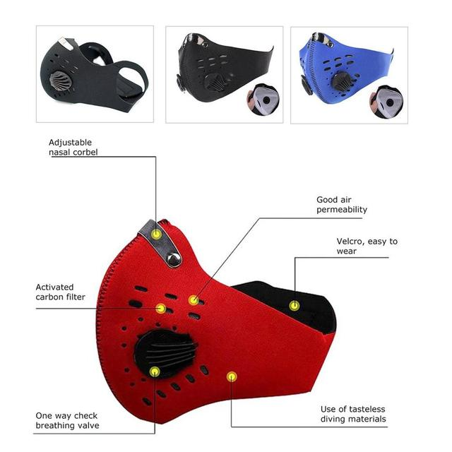 Anti-PM2.5 Mask With Valve Anti-fog and Activated Carbon Dustproof Windproof Bicycle Mask Mountain Bike Air Valve Riding Mask 3