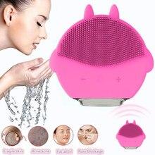 Электрический силиконовый Очищающая щетка для лица звуковая вибрация массаж USB перезаряжаемая умная ультразвуковая поверхность очиститель косметический инструмент