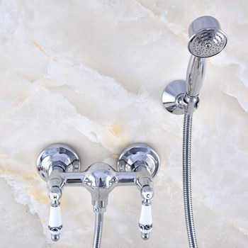 Polished Chrome Brass Wall Mounted Bathroom Hand Held Shower Head Faucet Set Mixer Tap Dual Ceramic Handles mna784