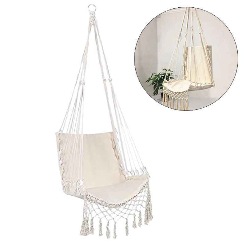 Nordic Style Hammock Safety Beige Hanging Hammock Chair Swing Rope Outdoor Indoor Hanging Chair Garden Seat Nordic Style Hammock Safety Beige Hanging Hammock Chair Swing Rope Outdoor Indoor Hanging Chair Garden Seat for Child Adult