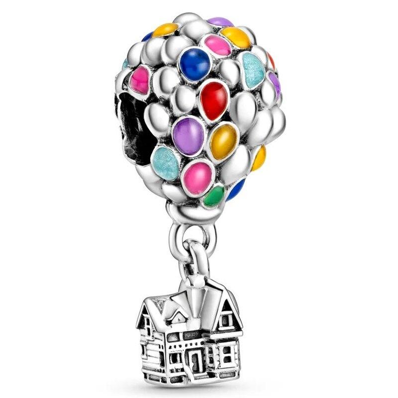 새로운 925 스털링 실버 구슬 매력 레인보우 에나멜 하우스 & 풍선 펜던트 비즈 맞는 판도라 팔찌 팔찌 Diy 쥬얼리