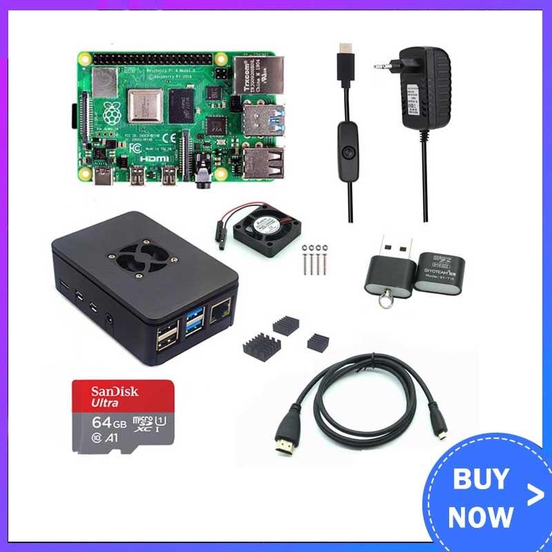 Raspberry pi 4 modelo b 1/2/4 gb ram + caso ventilador + dissipador de calor + adaptador de alimentação + 32/64 gb cartão sd + cabo hdmi para rpi 4b