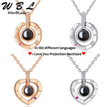 Creative I Love You 100 Languages Projection Pendant Necklace Personality Romantic Wedding Necklace Love Memory Women Gifts 2019(China)