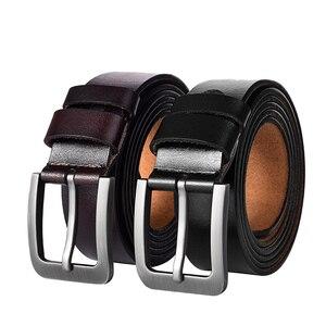 Image 2 - 140 150 160 170cm Large Size 100% Cow Genuine Leather Belt Mens Casual Metal Pin Detachable Buckle Straps Ceintures Jeans Belts