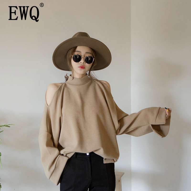 [EWQ] 2020 Spring Autumn Half Turtleneck Collar Long Sleeve Strapless Shoulder Streetwear Loose Femals Sweatshirt Women AH27601