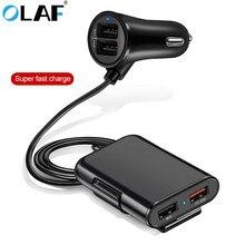 Автомобильное зарядное устройство OLAF Quick QC3.0 2.4A+ 3.1A 4 usb-порта с удлинительным кабелем для зарядки заднего сиденья с зажимом для Iphone, смартфона