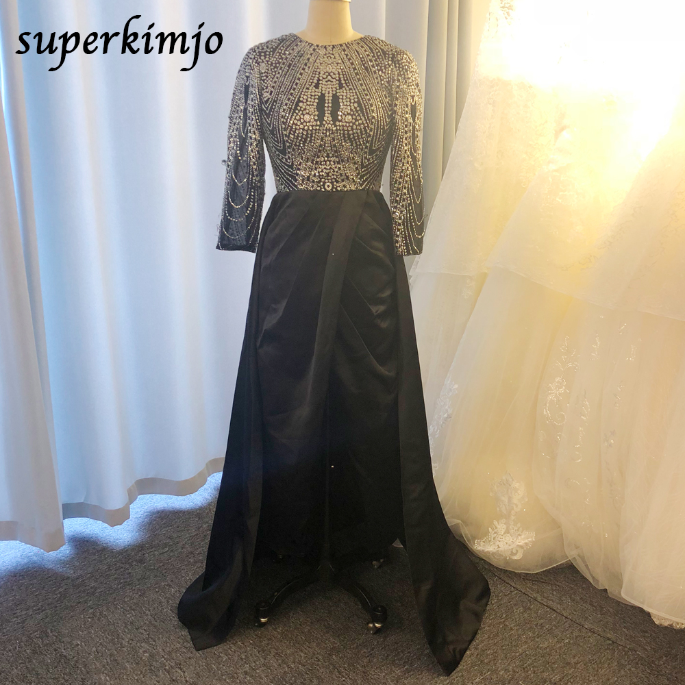 real picture black prom dresses 2020 sparkly glued sequins long sleeve pleats front slit evening