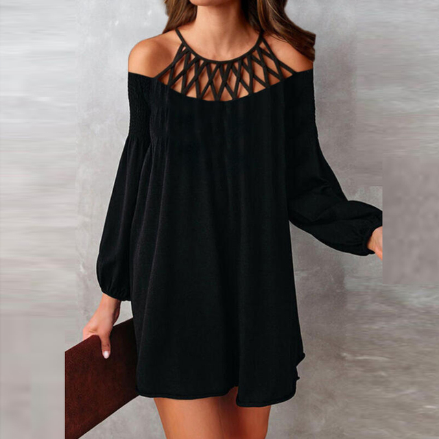 Spring Elegant Bead Halter Office Lady Mini Dress Casual Long Sleeve Women Party Dress Sexy Off Shoulder Hollow Out Black Dress 2