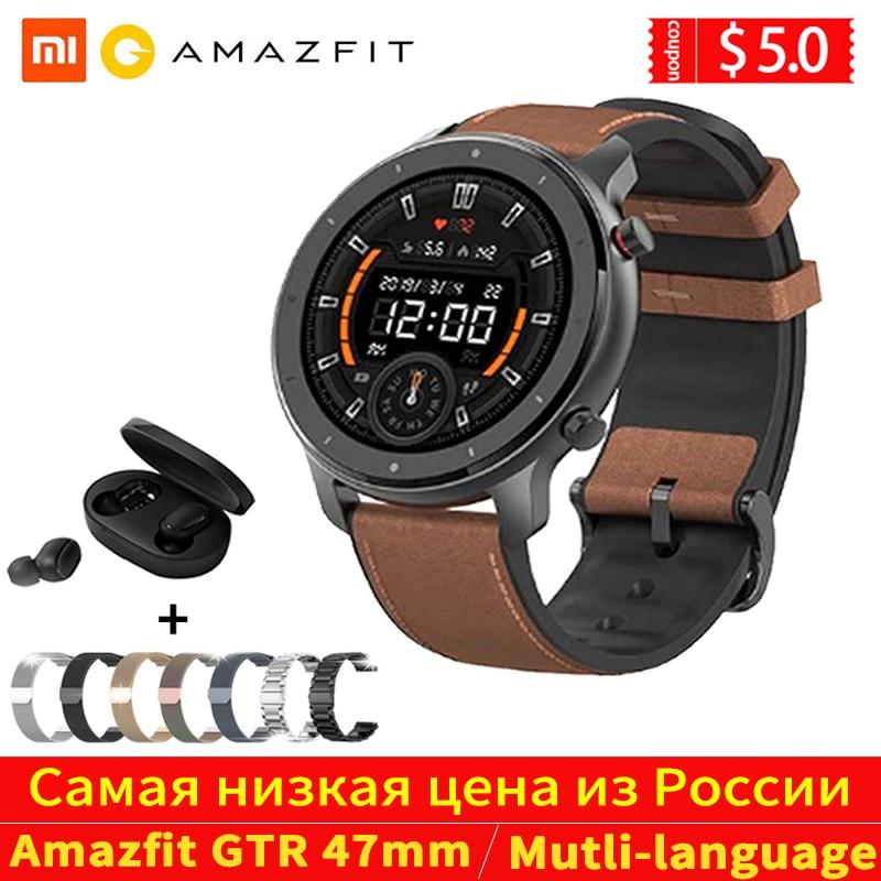 Глобальная версия Amazfit GTR 47 мм Смарт-часы Huami 5ATM водонепроницаемые Смарт-часы 24 дня батарея gps управление музыкой для Android IOS
