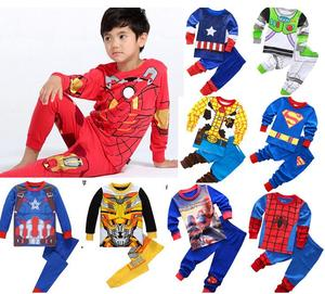 Kid Pajamas Children Sleepwear Baby Set Boy Spider-Man Iron Man Costume Pyjamas Pijama Cotton Cartoon Captain America Nightwear(China)