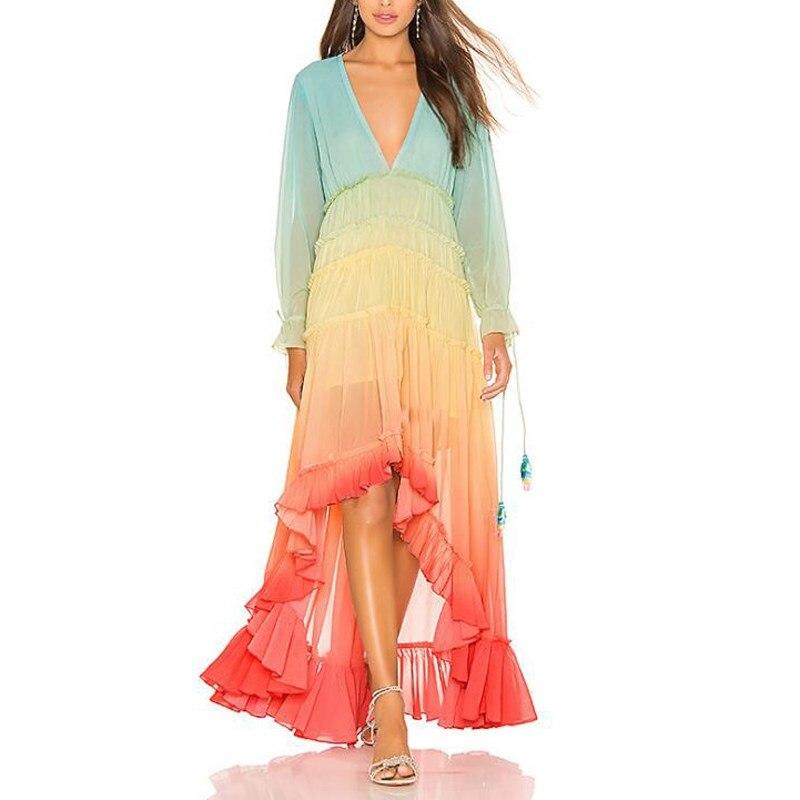 2019 femmes été arc-en-ciel dégradé bohème robe col en v à manches longues plage robe ample asymétrique maille Maxi robe