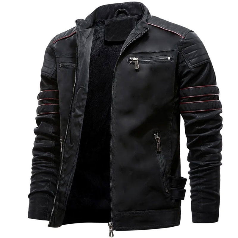 Autumn Mens Casual Leather Jacket Winter Inner Fleece Cargo Coat PU Leather Waterproof Jackets