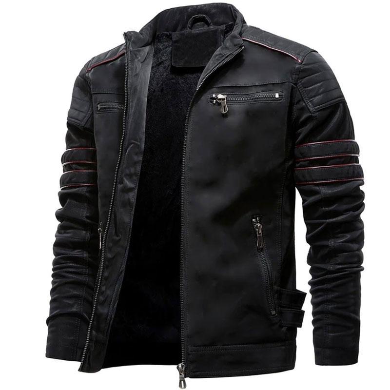 Autumn Mens Casual Leather Jacket Winter Inner Fleece Cargo Coat PU Leather Waterproof Jackets