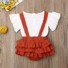 цена 2019 Canis Summer 0-24 Months Baby Girl Skirts Outfit 2PCS Cotton Linen Shirt Strap Skirt Ruffle Shorts Set онлайн в 2017 году