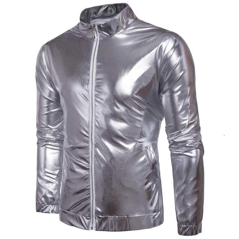 ホット販売スリムフィットメンズファッションスタンドカラーのオートバイのバイカージッパージャケット男性薄型ナイトクラブ明るい新秋のシルバーゴールド