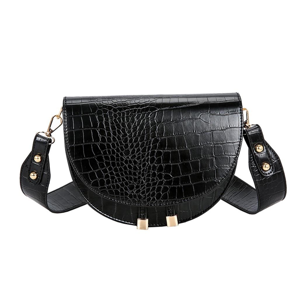 Elegant Crocodile Pattern Crossbody Bag For Women Half Round Solid Pu Leather Luxury Handbag Women Bag Designer Shoulder Bag #38(China)