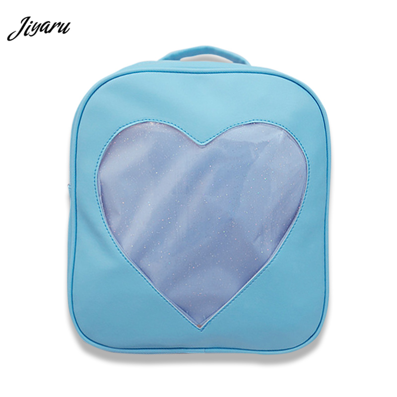 Jiyaru 2019 Candy Color Ita Bags Transparent Cute Backpack Cute Ita Bags Love Heart Shape Backpack Teenage Girls Schoolbags