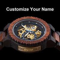 Mecânico automático bobo pássaro relógio de pulso de madeira de luxo forsining personalizado presente pai relogio masculino de luxo