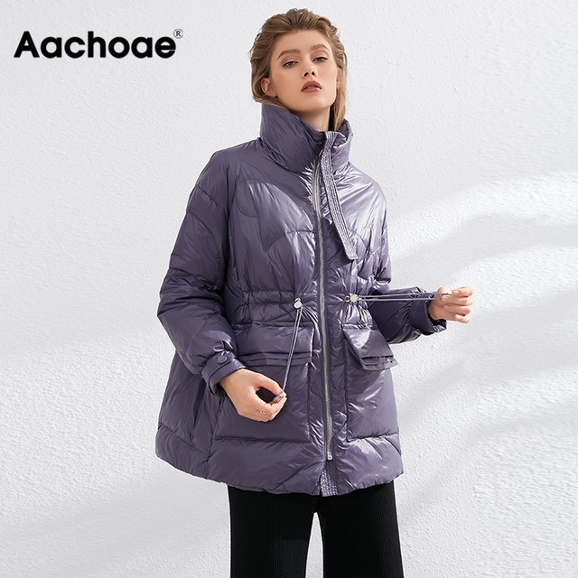 Aachoae Pure Winter Lightweight Down Jacket Women Thick Warm Batwing Long Sleeve Loose Doudoune Pocket Ultra Light Duck Down 3