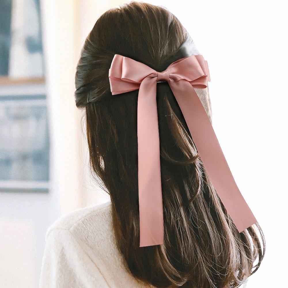 Haimeikang Fashion Satin Hairpin Double-sided Ribbon Streamer Bow Hair Clip Solid Color Spring Clip Women Hair Accessories