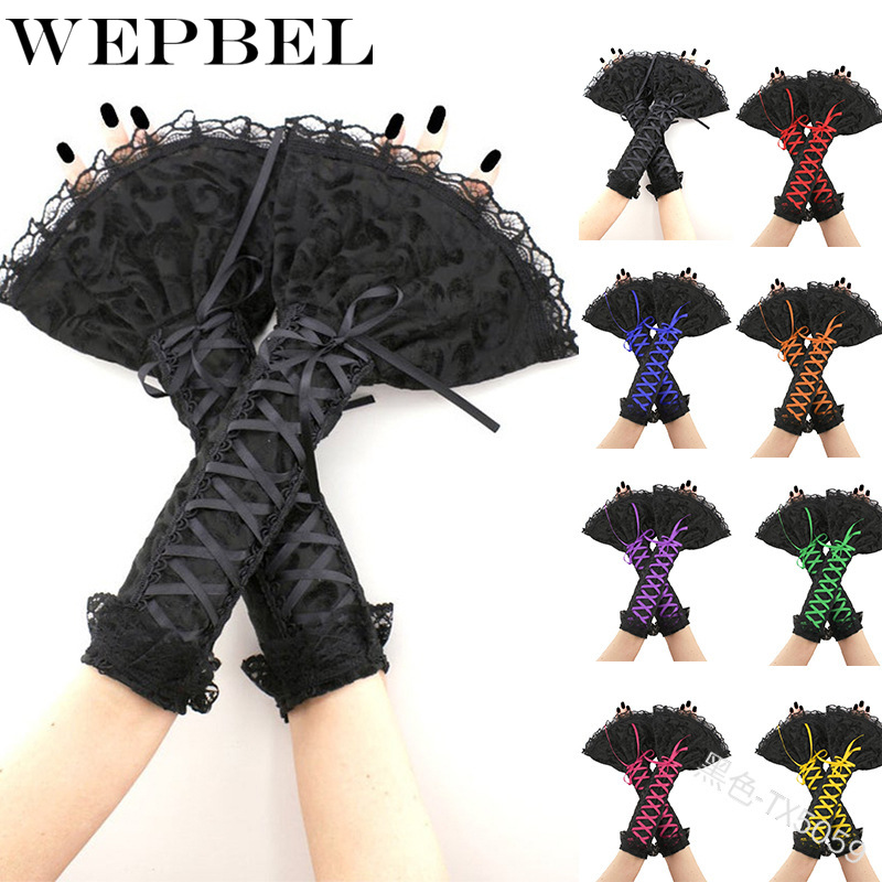 WEPBEL Women Glove <font><b>Cos</b></font> Lolita Floral Lace <font><b>Sexy</b></font> Bandage Fashion Vintage Ladies Gloves image