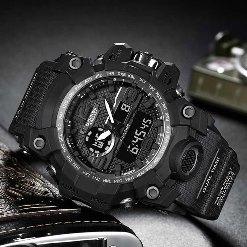 ระบบรุ่น ADDIES แฟชั่นกีฬานาฬิกาผู้ชาย 2019 นาฬิกาควอตซ์แบบดิจิตอลนาฬิกาข้อมือทหารนาฬิกาผู้ชาย Relogio Masculino