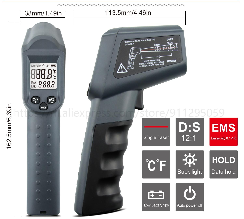 Kaemeasu Digitale Infrarood Thermometer -50 ~ 1600 Meetbereik, Non-contact, Veiligheid, Koken, industriële Elektronische Thermometer Pistool 17