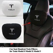 Seeyule macio memória assento de carro encosto cabeça pescoço travesseiro confortável almofada estilo logotipo acessórios para tesla modelo s modelo x modelo 3