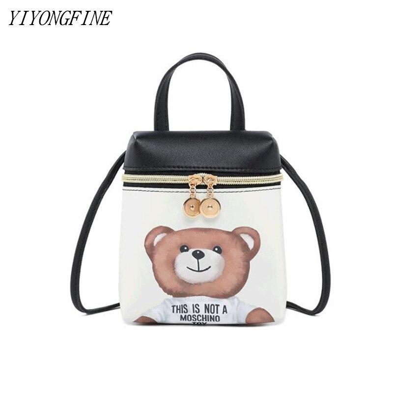 New Mini Mobile Phone Bag Girl Cartoon Shoulder Messenger Bag Small Handbags For Women Cute Bear Bag PU Crossbody Bag