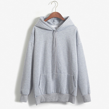 New Casual Ladies Spring Autumn Hoodies Tops Solid Color Wom