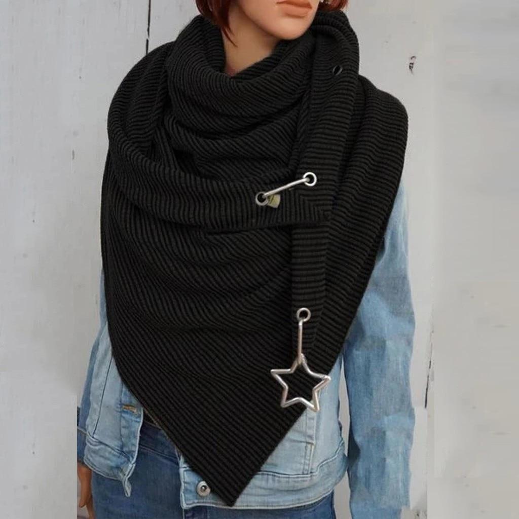 2020 Fashion Winter Women Scarf Soild Dot Printing Button Soft Wrap Casual Warm Scarves Shawls Scarf Women шарф бандана A40