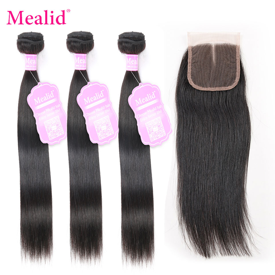 Mealid Straight Hair 3 4 Bundles With Closure Brazilian Hair Weave Bundles With Closure 100% Human Hair Bundles Remy Hair