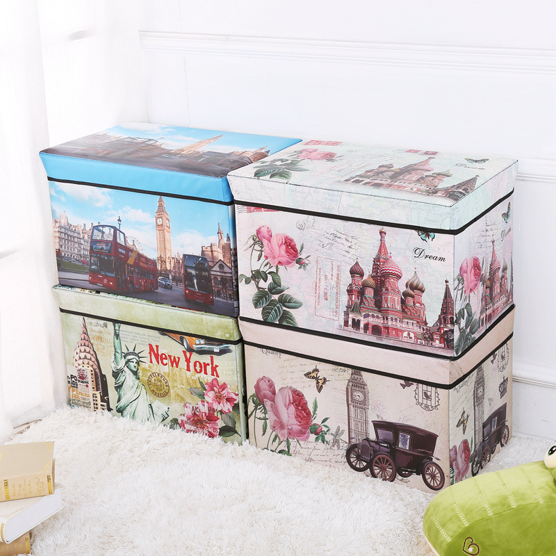 European Style Retro Printed Coated Film Storage Chair Vehicle-mounted Storage Box Multi-functional Foldable Storage Stool Manuf