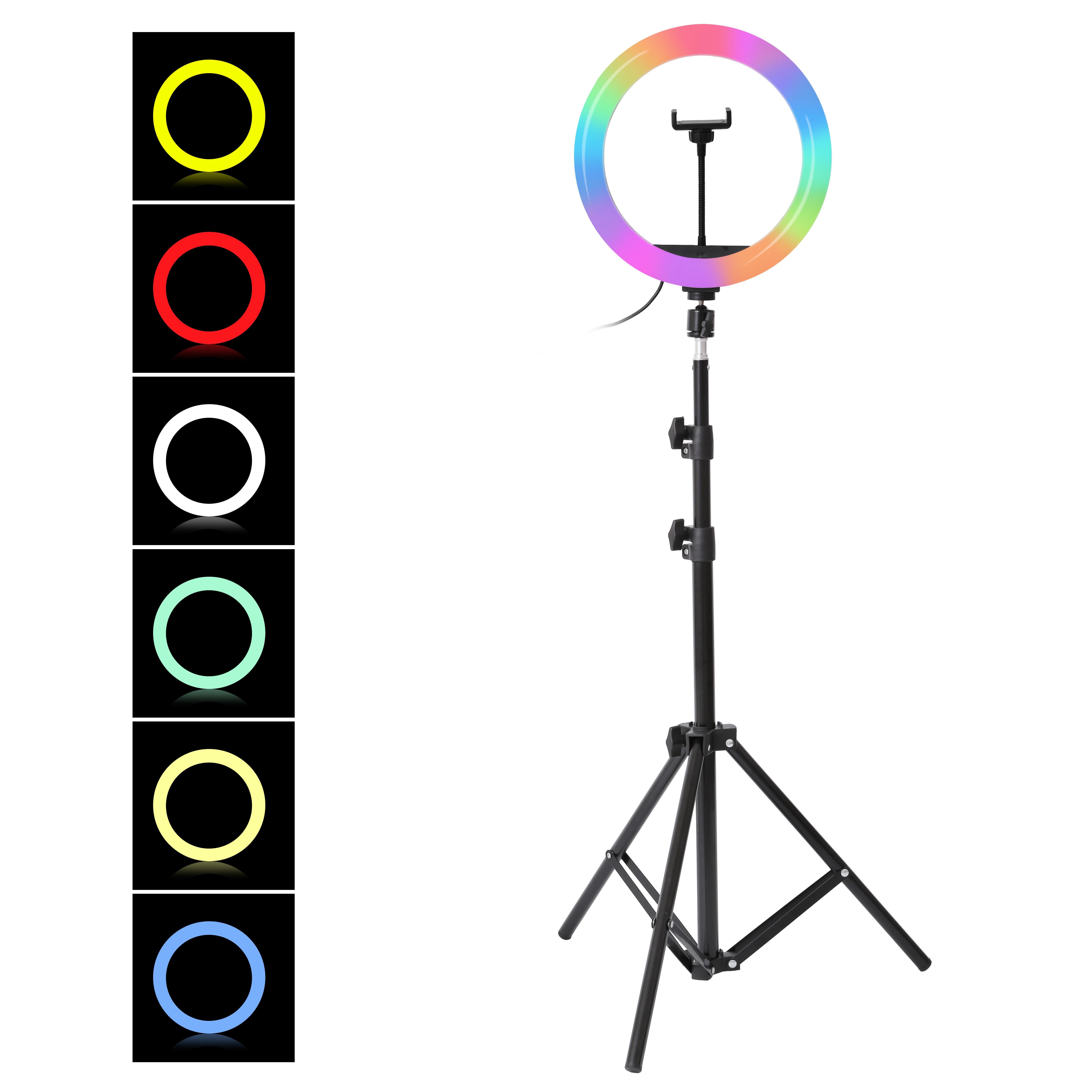 10 Polegada rgb selfie anel luz de preenchimento com tripé fotografia pode ser escurecido anel lâmpada para tiktok youtube maquiagem luzes vídeo