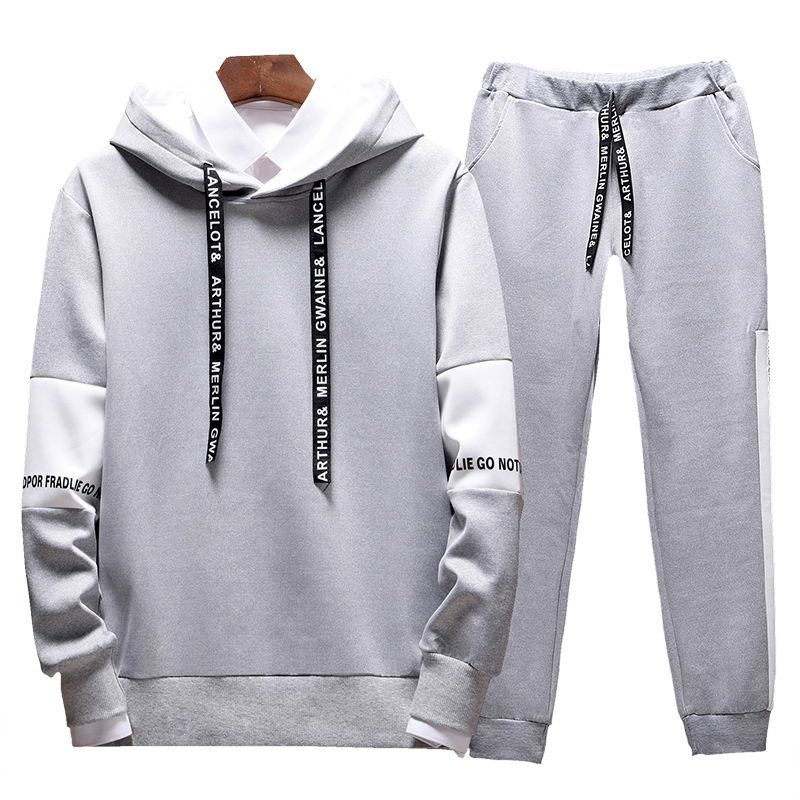YUANHUIJIA Men Sportsuit Set Spring Fashion Hooded Sweatshirt+Pants Sportswear Two Piece Set Tracksuit For Men Fitness Clothing