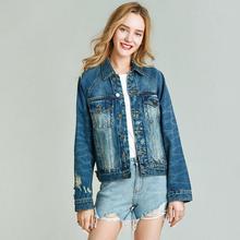 Весенняя Новинка, джинсовая куртка с потертостями, короткое пальто, женская однотонная куртка W4181