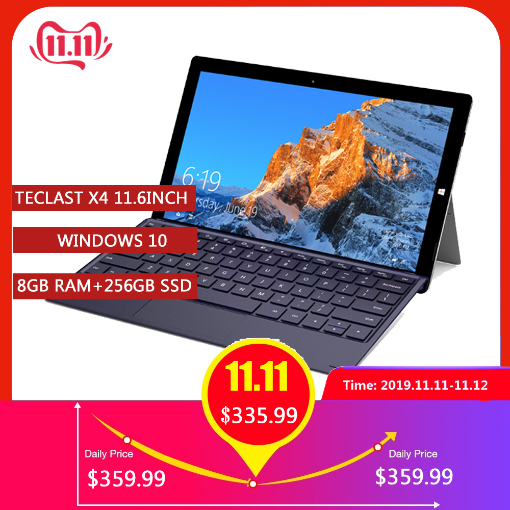 Teclast X4 2 In 1 Tablet PC Laptop 11.6' IPS Windows 10 Celeron N4100 Quad Core 8GB RAM 256GB SSD 5MP HDMI Type-C With Keyboard