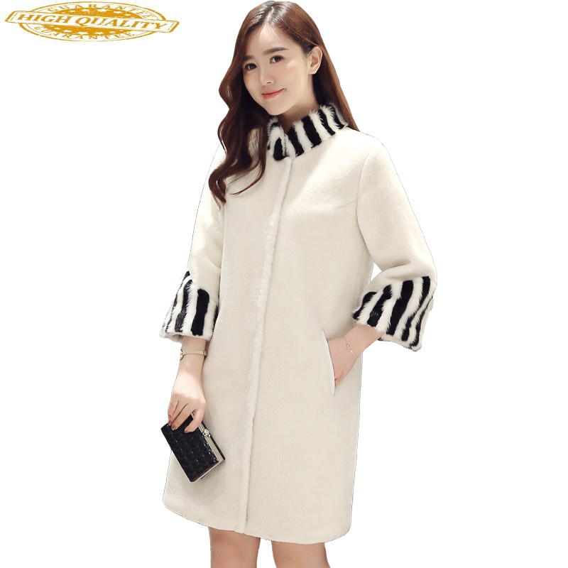 Womens Sheep Shearling Fur Coat Natural Mink Fur Stand Collar Real Wool Coats Warm Winter Jacket Women Outerwear 3416111