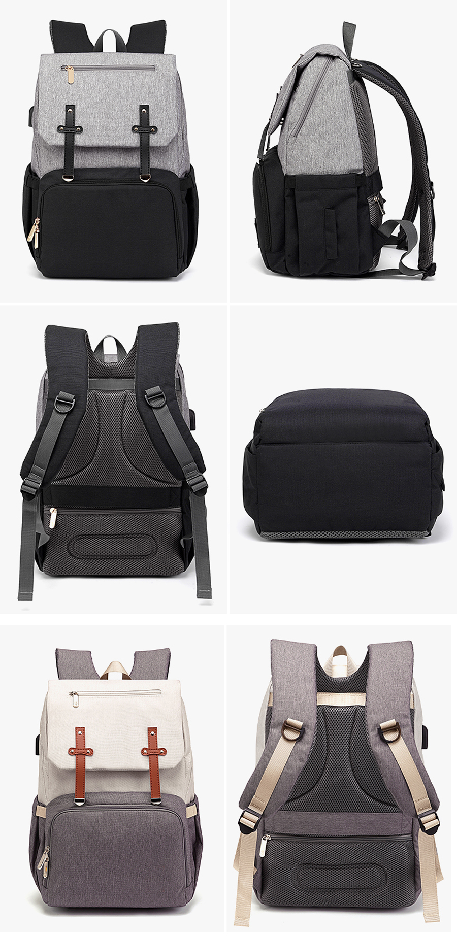 H6384ace6a4674660b8f068de65d041aav Baby Diaper Bag with USB Port Waterproof Nappy Bag Mommy Backpack Laptop Bag Maternity Bags With Rechargeable Bottle Holder