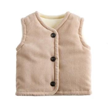 Sztruksowe dziecięce kamizelki dziewczęce ubranka dla niemowląt śliczne chłopięce kamizelki zimowe jesienne ciepłe miękkie ubrania dziecięce bezrękawnik bawełniany tanie i dobre opinie CHCDMP COTTON CN (pochodzenie) Chłopcy V-neck moda Kurtki płaszcze Dobrze pasuje do rozmiaru wybierz swój normalny rozmiar