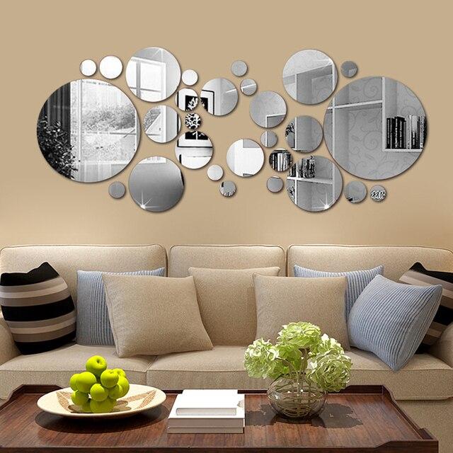 26/24pcs 3D Mirror Wall Sticker Round Mirror DIY TV Background Room Stickers Wall Decor bedroom Bathroom Home Decoration mirror 4