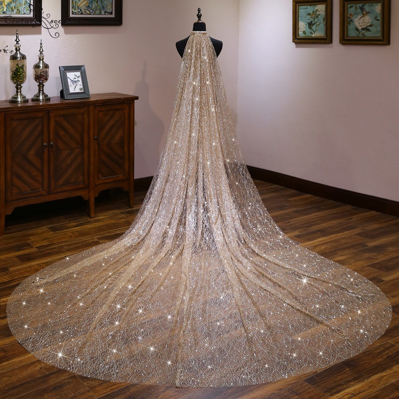 2020 Shiny Gold Cathedral Wedding Veil With Comb 4 Meters Long Sparkly Bridal Veil Wedding Accessories One Layer Velos De Noiva